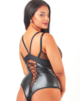 Caged criss cross design down the front and lace up cups make this PVC black body a super flattering body for the plus size temptress