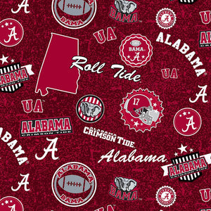 Alabama Crimson Tide fabric by the yard | 100% Cotton | Sykel Enterprises NCAA fabric | Pattern #1208