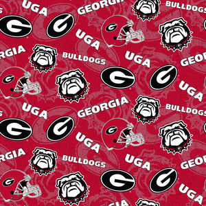 NCAA University of Georgia Bulldogs by the yard | 100% Cotton | Sykel Enterprises NCAA fabric | Pattern #1178