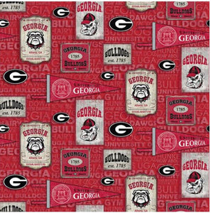 NCAA University of Georgia Bulldogs by the yard | 100% Cotton | Sykel Enterprises NCAA fabric | Pattern #1267