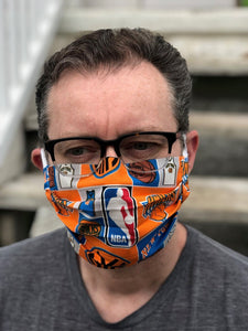 NY Knicks Basketball Face Mask with removeable pocket filters and nose wire | Adjustable Ear Loops| USA made| Quick Ship| Machine Washable