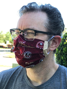 FSU Face Mask | Seminoles Mask | Adjustable Elastic Ear Loops | Made in the USA | Quick Ship | Machine Washable | Adult and Child Sizes