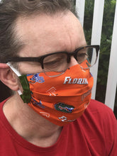 Load image into Gallery viewer, UF Florida Gators Face Mask with removable pocket filters and nose wire | Adjustable Ear Loops | USA made | Quick Ship | Machine Washable