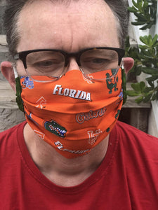 UF Florida Gators Face Mask with removable pocket filters and nose wire | Adjustable Ear Loops | USA made | Quick Ship | Machine Washable