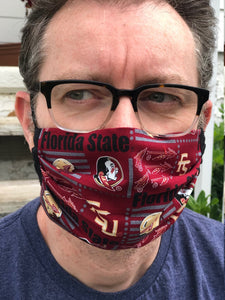 FSU Face Mask Black Text with removeable pocket filters and nose wire | Adjustable Ear Loops | USA made | Quick Ship | Machine Washable | Dust Mask