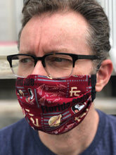 Load image into Gallery viewer, FSU Face Mask Black Text with removeable pocket filters and nose wire | Adjustable Ear Loops | USA made | Quick Ship | Machine Washable | Dust Mask