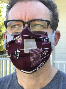 Texas A&M Aggies Face Mask with removeable pocket filters and nose wire| Adjustable Ear Loops | USA made | Quick Ship | Machine Washable