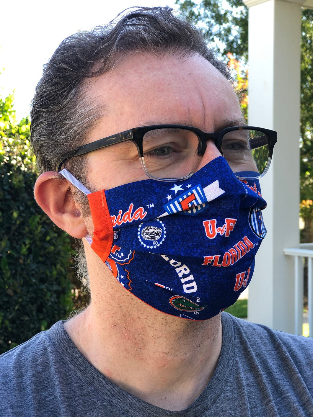 UF Florida Gators Face Mask with removable pocket filter and nose wire | Adjustable | USA made | Quick Ship | Machine Washable