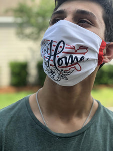 USA Home| USA Facemask with removable pocket filters and nose wire | Adjustable Ear Loops | USA made | Quick Ship | Machine Washable