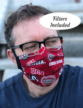 Load image into Gallery viewer, Georgia Bulldogs Face Mask with removable pocket filters and nose wire | Adjustable Ear Loops | USA made | Quick Ship | Machine Washable
