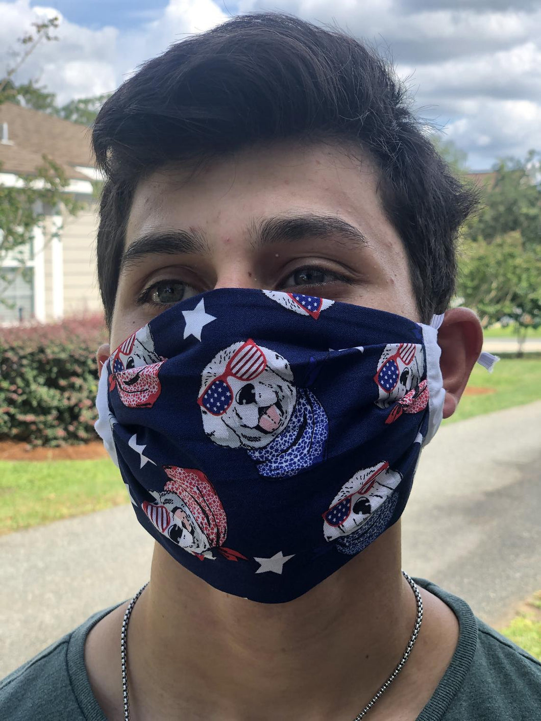 Dogs| USA 4th of July Face Mask with removable pocket filters and nose wire | adjustable ear loops | USA Made | Quick Ship| Machine Washable