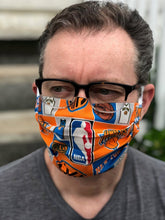 Load image into Gallery viewer, NY Knicks Basketball Face Mask with removeable pocket filters and nose wire | Adjustable Ear Loops| USA made| Quick Ship| Machine Washable