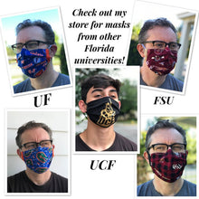 Load image into Gallery viewer, FSU Face Mask with removeable pocket filters and nose wire| Adjustable Ear Loops | USA made |Quick Ship | Machine Washable