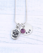Load image into Gallery viewer, Day of the Dead Necklace | Day of the Dead Charm Jewelry | Personalized Day of the dead Charm Necklace | Silver Day of the dead Charm