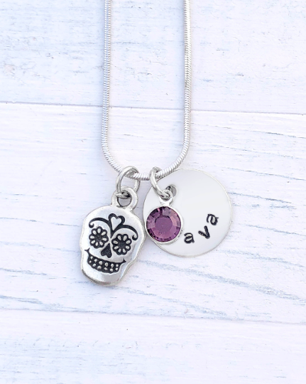 Day of the Dead Necklace | Day of the Dead Charm Jewelry | Personalized Day of the dead Charm Necklace | Silver Day of the dead Charm