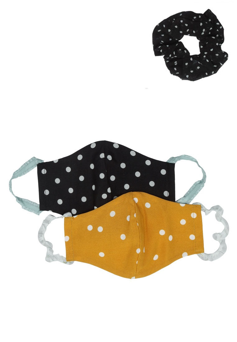 Edith Cotton Mask And Scrunchie Set - Black/Yellow