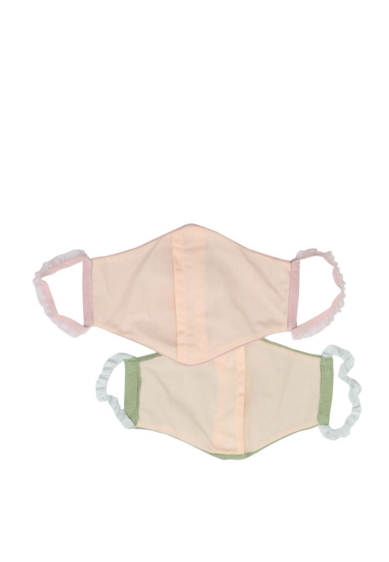 Sienna Cotton Mask And Scrunchie Set - Pink/Green