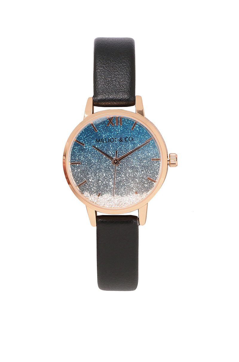 Andy Rose Gold Leather Strap Watch (Black)