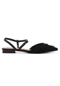 Dust Pointed Toe Flats (Black)