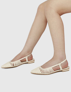 Kym Pointed Toe Flats (White)