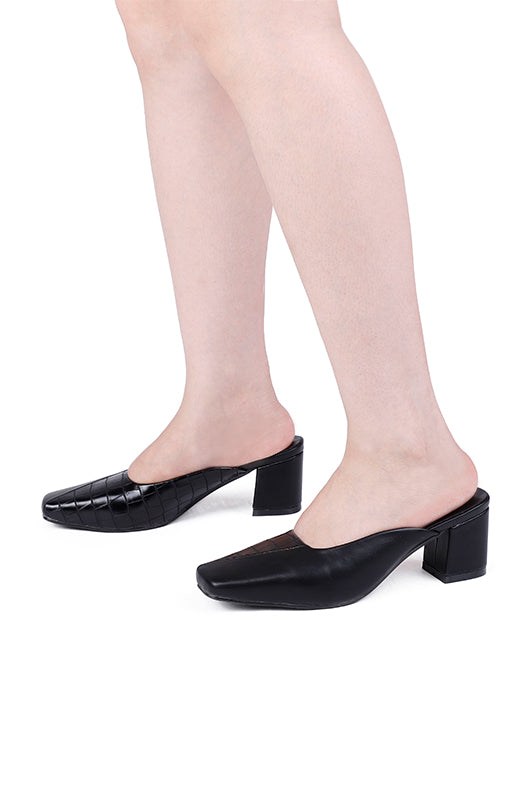 Wizard Square Toe Heels (Black)