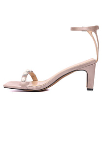 Dara Square Toe Heel Shoes (Beige)