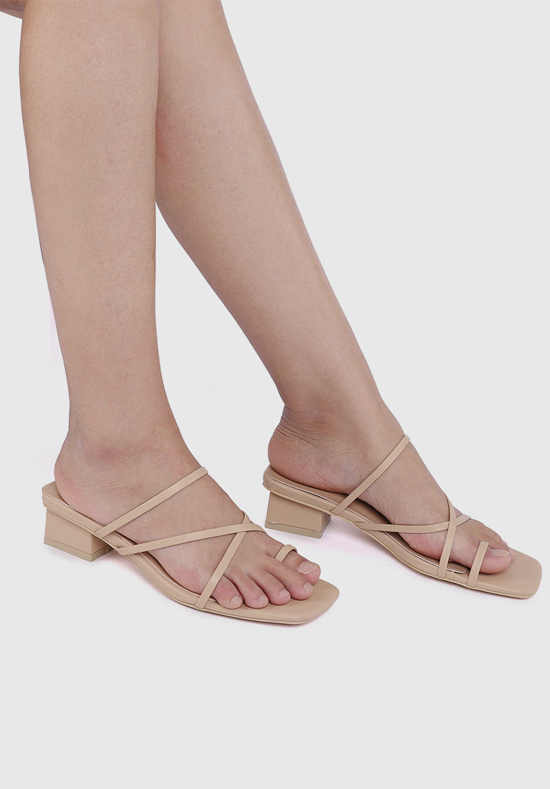 Knight Square Toe Heels (Nude)