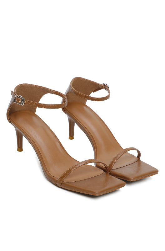 Sleek Open Toe Heels (Brown)