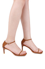 Load image into Gallery viewer, Sleek Open Toe Heels (Brown)