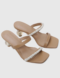 Kayly Open Toe Heels (Brown)
