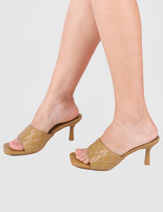 Posh Open Toe Heels (Brown)