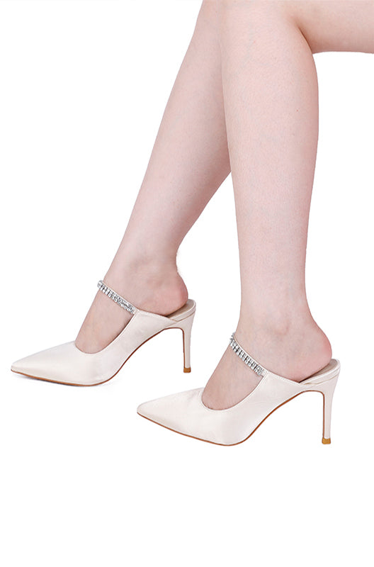 Martina Pointed Toe Heels (White)