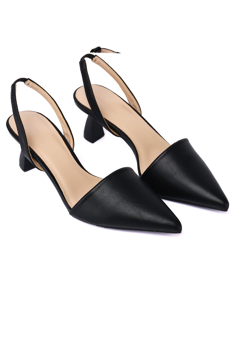 Dale Pointed Toe Heel Shoes (Black)