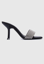 Load image into Gallery viewer, Sparkle Square Toe Heels (Black)