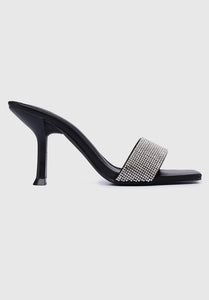 Sparkle Square Toe Heels (Black)