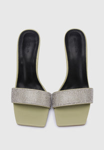 Sparkle Square Toe Heels (Green)
