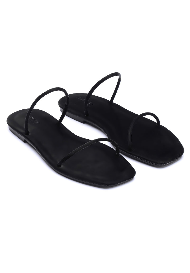 Dreamy Square Toe Sandals (Black)