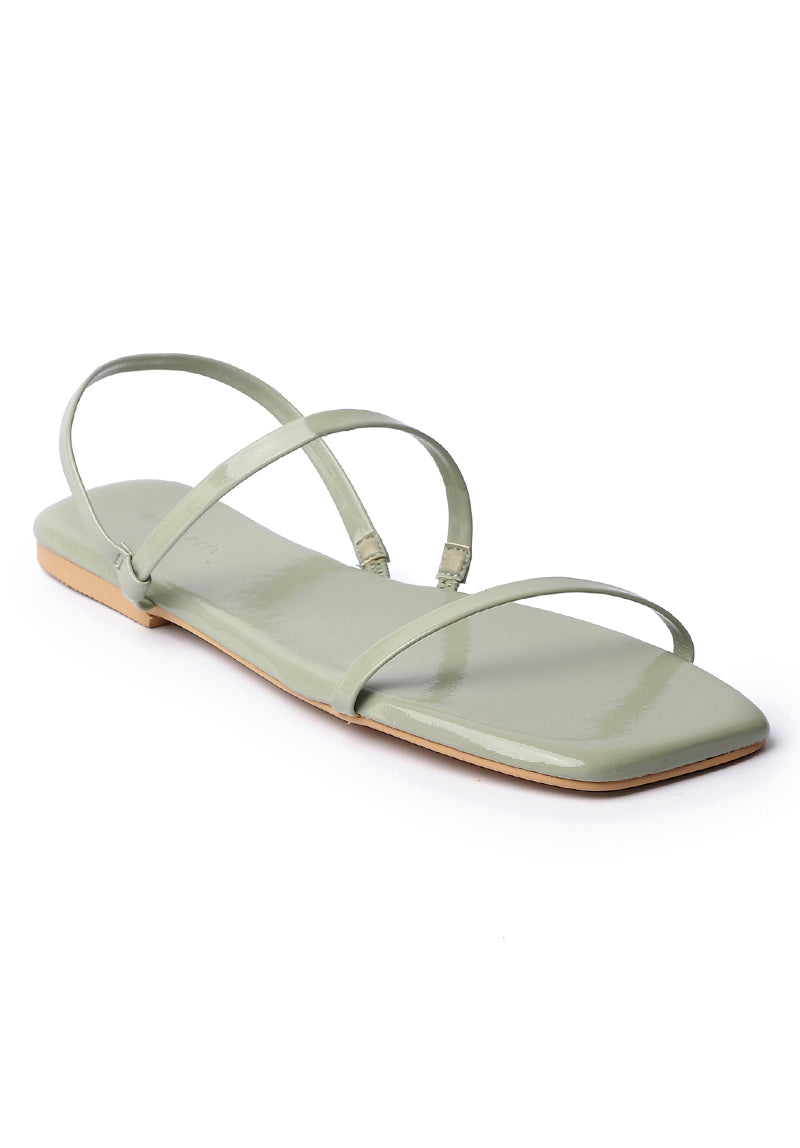 Beauty Square Toe Sandals (Green)