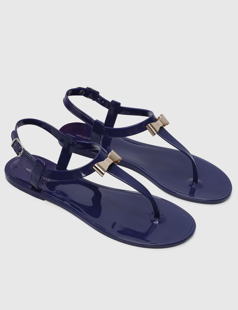 Flower Power T-Strap Jelly Sandals (Navy)