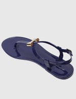 Load image into Gallery viewer, Flower Power T-Strap Jelly Sandals (Navy)