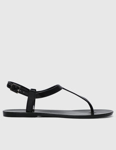Sweetheart T-Strap Jelly Sandals (Black)