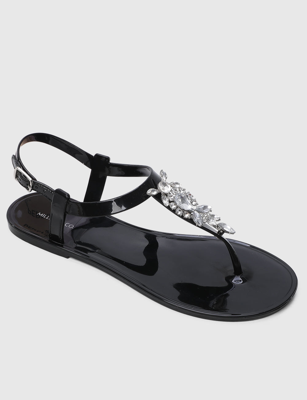 Starburst T-Strap Jelly Sandals (Black)