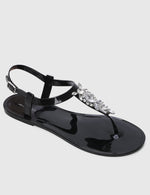 Load image into Gallery viewer, Starburst T-Strap Jelly Sandals (Black)