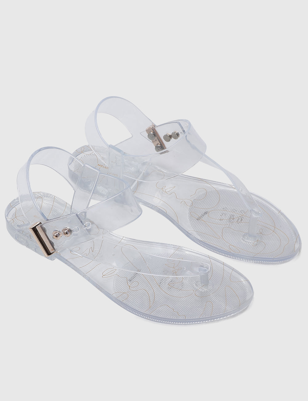 Leona T-Strap Jelly Sandals (Clear)