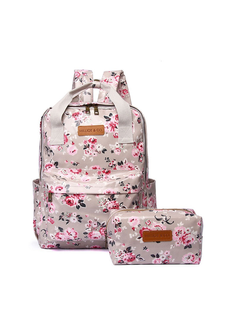Anna 2 In 1 Backpack And Small Pouch (Beige)