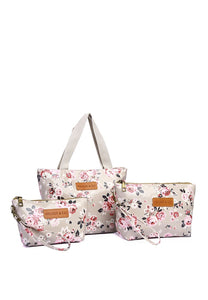 Anne 3 In 1 Top Handle Bag And Small Pouch (Beige)