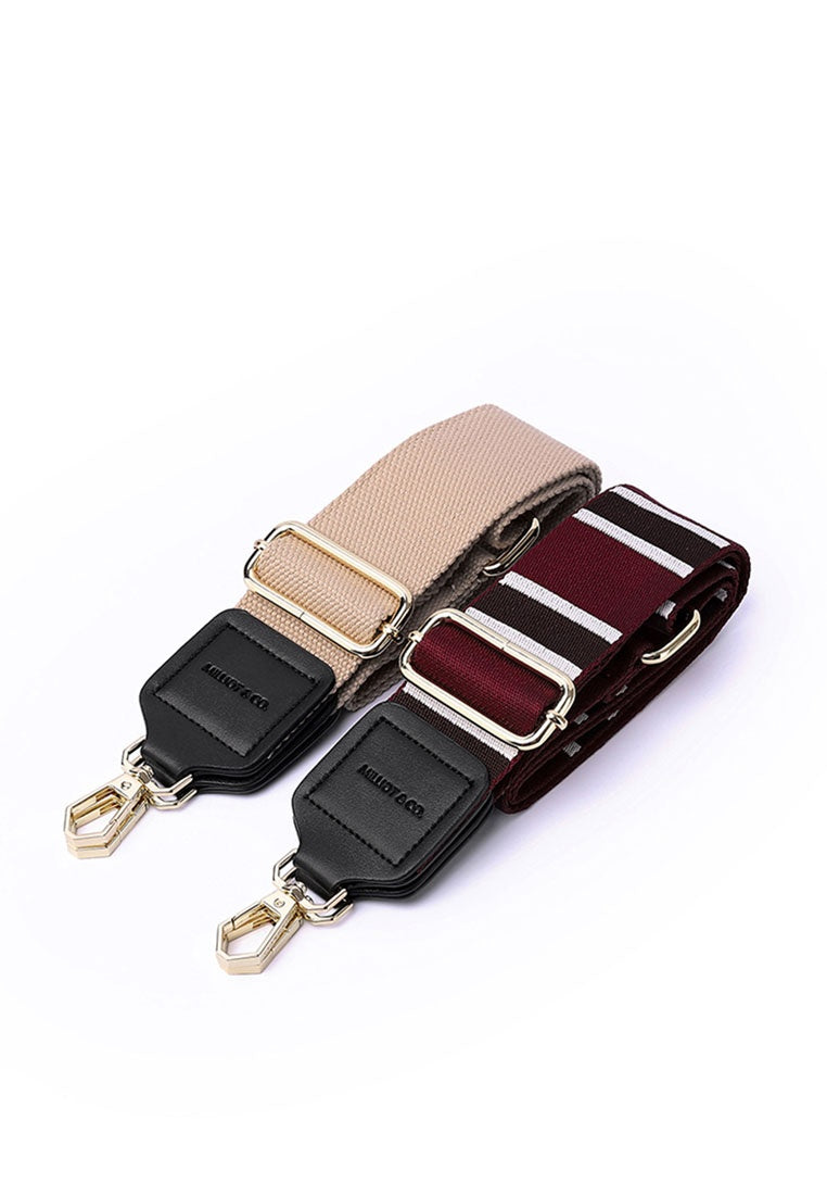 Becky 2 In 1 Striped Handbag Straps (Maroon)