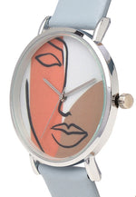 Load image into Gallery viewer, Candy Silver Leather Strap Watch (Steel Blue)