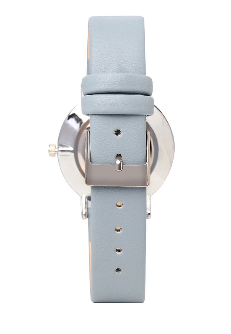 Candy Silver Leather Strap Watch (Steel Blue)