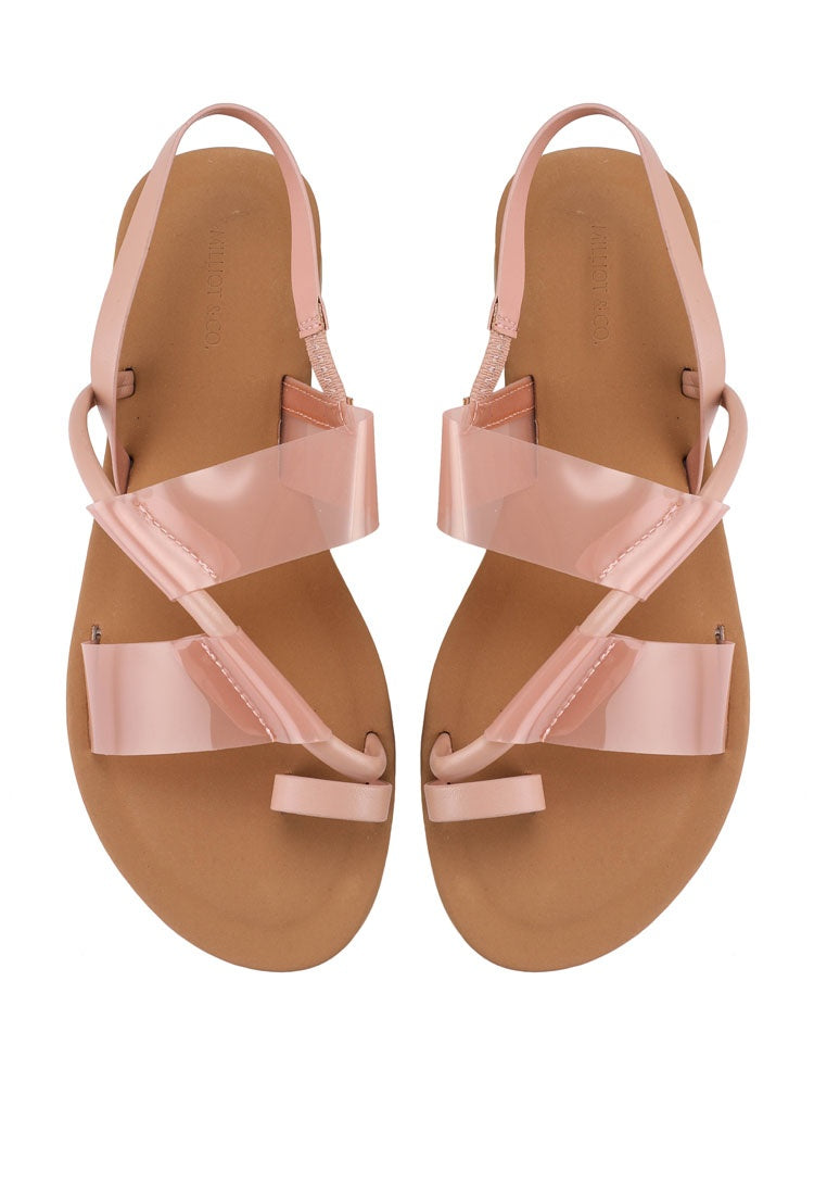 Dainty Toe Ring Flat Sandals (Pink)